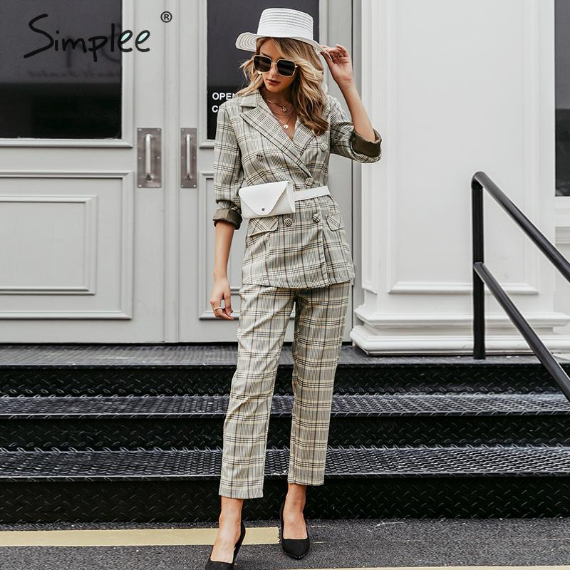Simplee Plaid Double Breasted Women Blazer Suit Set Long Sleeve Office Ladies Pant Suits Female Casual Streetwear Trouser Suit