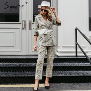 Image 1 - Simpleeチェック柄ダブルブレスト女性ブレザースーツセット長袖パンツスーツ女性のカジュアルなストリートズボンスーツ