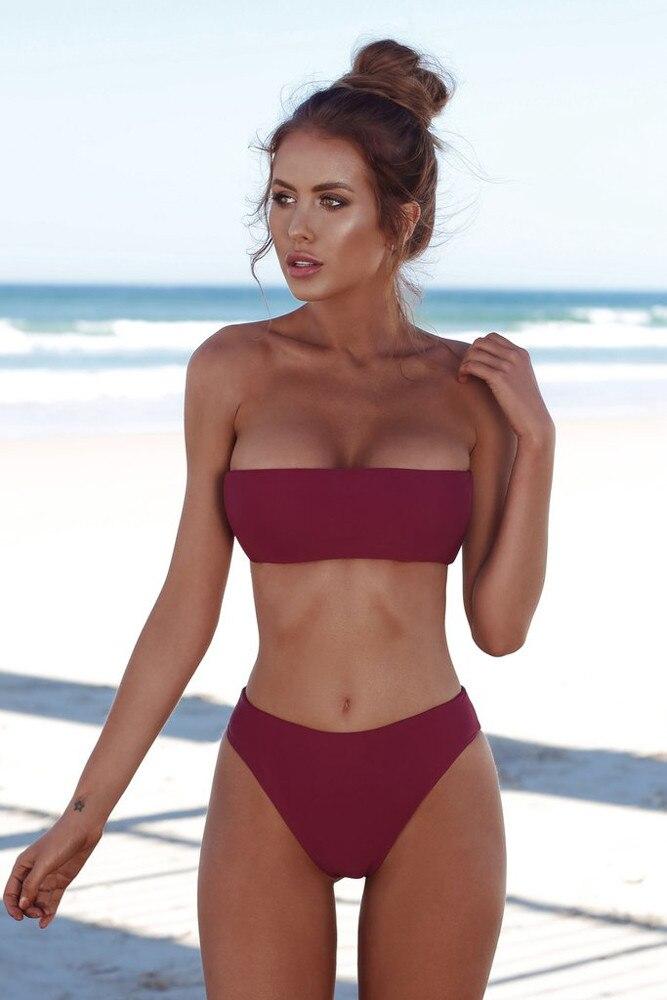 Fashion Women Sexy Bandeau Swimsuit Push Up Seamless Biquini Female Bathing Swimsuit Swimwear Women Brazilian Bikini Set #YJ 2