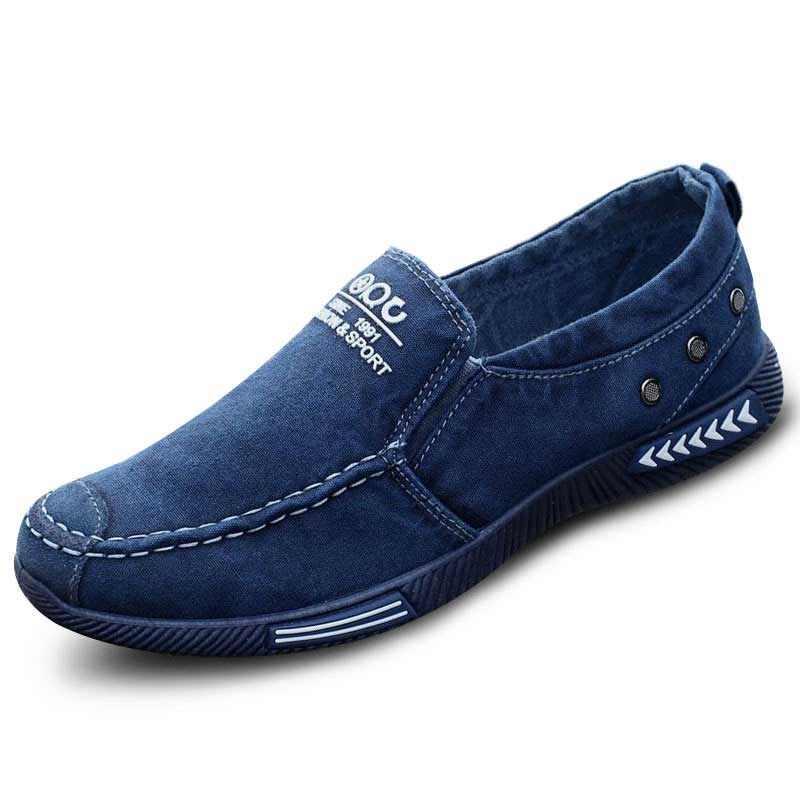 Männer Casual Schuhe Denim Wohnungen Slip-on Loafers Plimsolls Atmungs Männer Müßiggänger Mesh Leinwand Trainer Turnschuhe Mokassin Homme