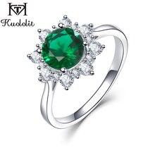 Kuololit יוקרה ספינל אמרלד טבעות לנשים 925 סטרלינג כסף תכשיטי אירוסין חתונה מאי אבן המזל טבעת רומנטי מתנה