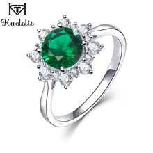 Kuololit Luxury Spinel Emerald Rings For Women 925 Sterling Silver Jewelry Engagement Wedding May Birthstone Ring Romantic Gift