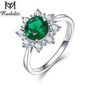 Image 1 - Kuololit luxe spinelle émeraude anneaux pour les femmes 925 bijoux en argent Sterling fiançailles mariage mai pierre de naissance anneau cadeau romantique