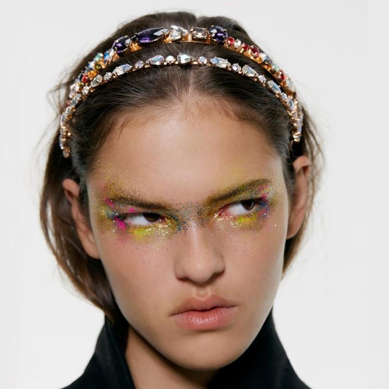 ZA Full Crystal Headbands For Women Colorful Rhinestone Hairbands Bridal Shining Hair Hoop Party Wedding Hair Accessories F10631