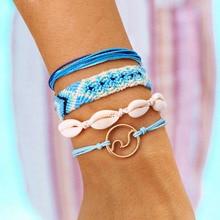 Women Braided Wax Rope Ethnic style Fashion Bracelet Set Handmade Adjustable Wrap Bohemian Sea Shell  A66