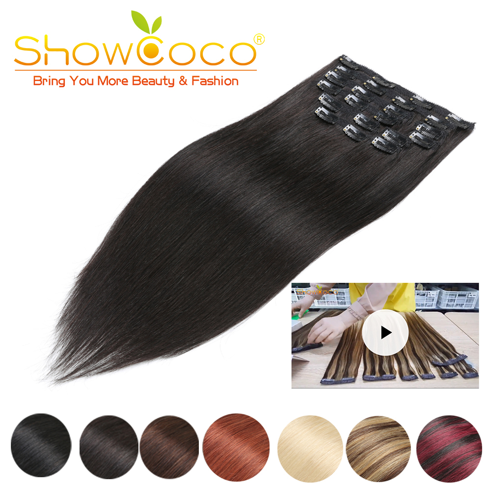 Showcoco grampo de cabelo em extensões de cabelo humano sedoso em linha reta máquina-feita remy natural 10 peças conjunto 220g preto loira clipe no cabelo