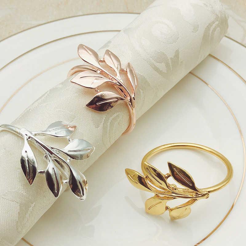 4pcs Golden Napkin Rings Hollow Out Rose Shape Napkin Buckles Iron Napkin Holder