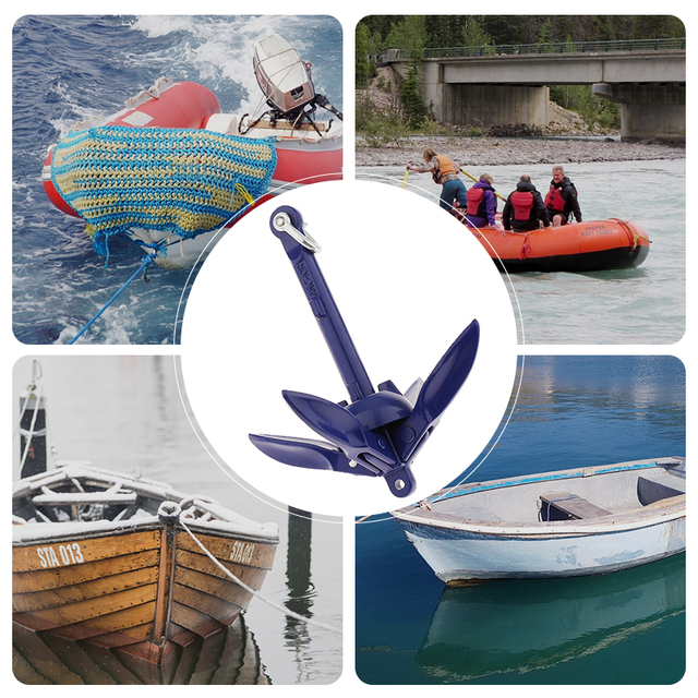0.7 kg barco dobrável grapnel âncora 316 âncora de aço inoxidável para iate marinho canoa caiaque veleiro pesca jet ski etc 6.9 Polegada