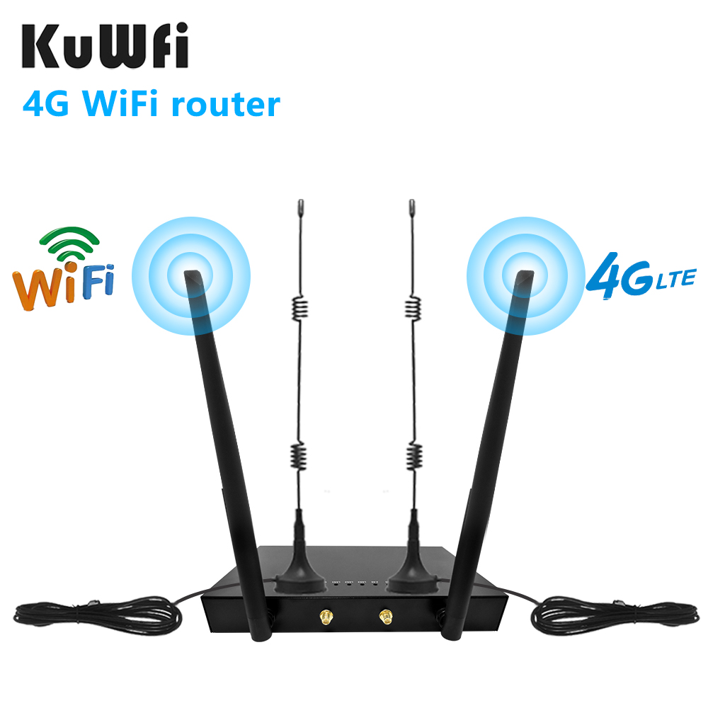 KuWFi 4G LTE SIM Card WiFi Router 150Mbps CAT4 Industrial Wireless Coverage WAN LAN Port Up to 32 Wifi users 4 External Antennas 1