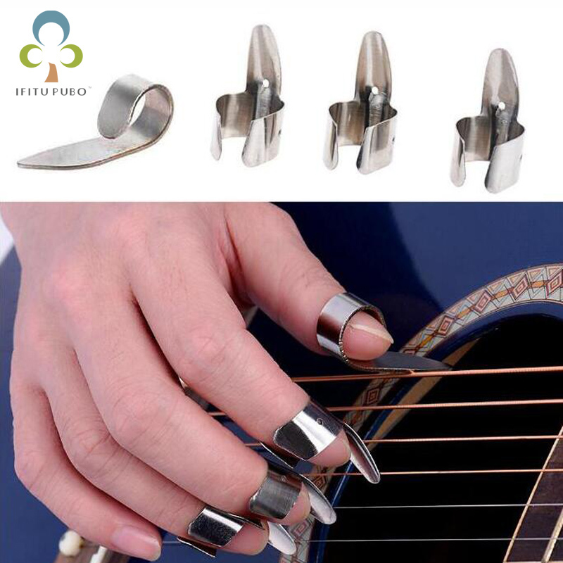 4 pieces Rvs 1 thumb and 3 nails set metal collection acoustic electric bass guitar accessories Gyh image