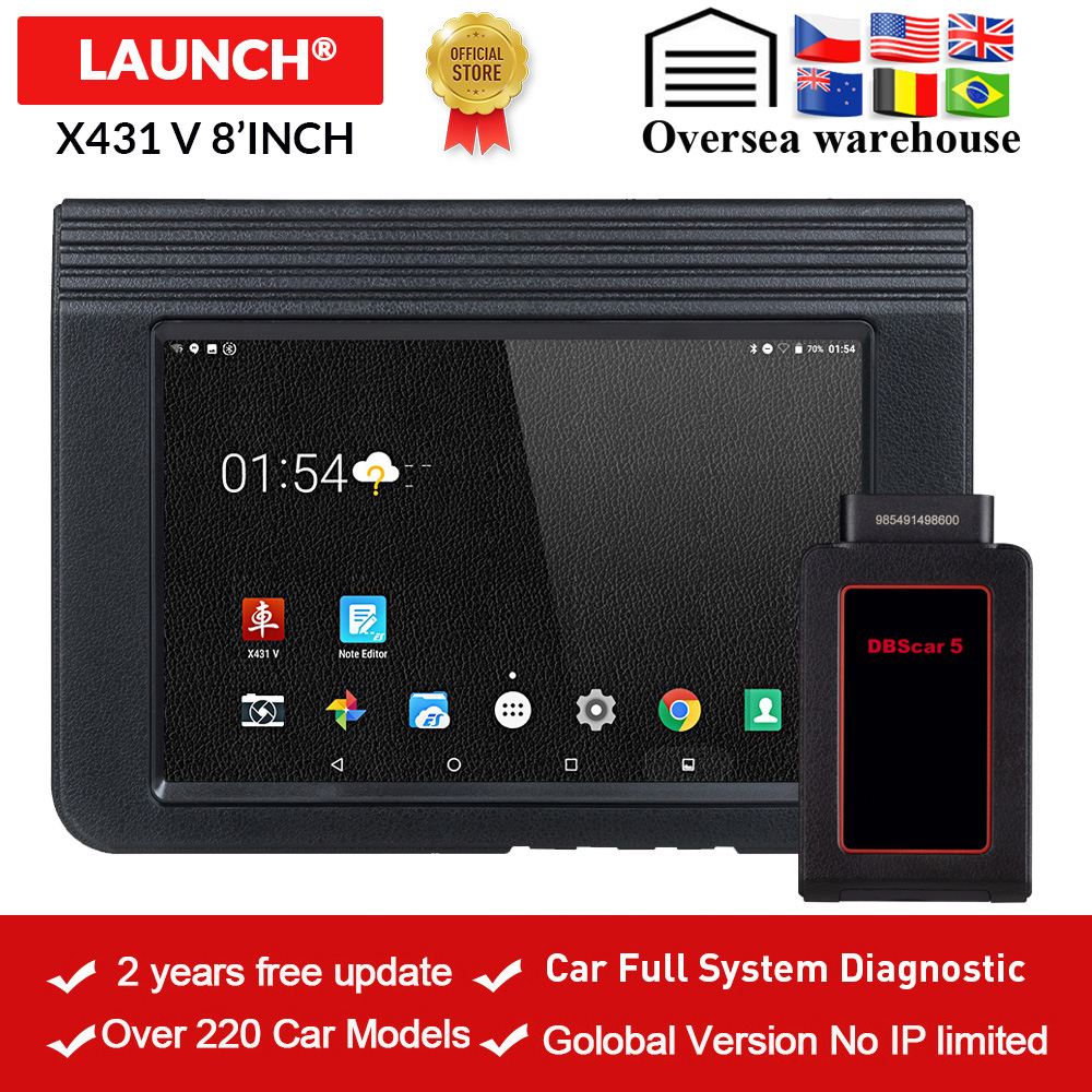 LAUNCH X431 V 8 Bluetooth/Wi Fi Automotive Full System Diagnostic tool ECU Coding X 431 V Pro mini OBD2 Scanner update online-in Engine Analyzer from Automobiles & Motorcycles