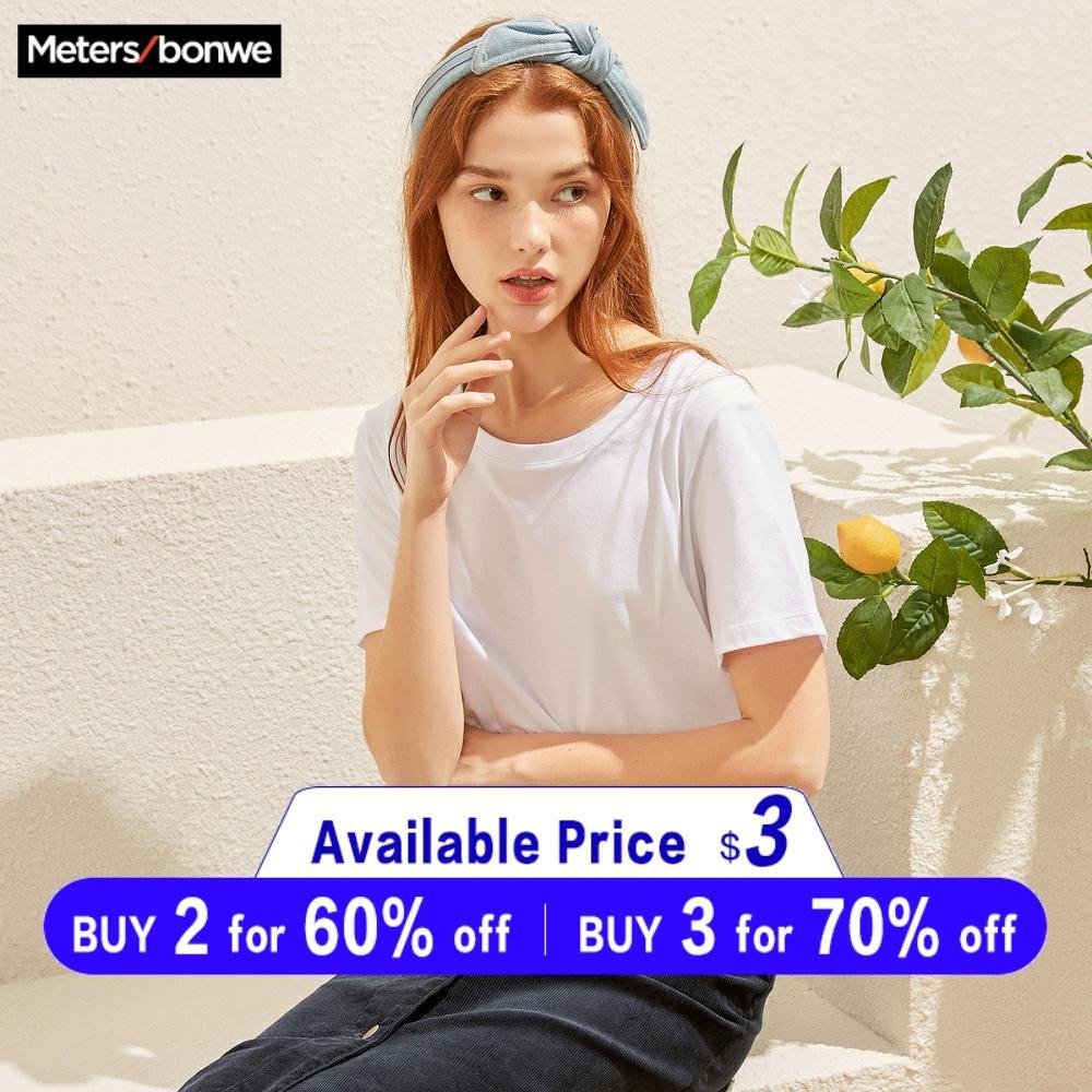Nova camisa de algodão do harajuku de metersbonwe s 4 m cor sólida manga curta topos & t moda casual básico t camisa subsidiária marca