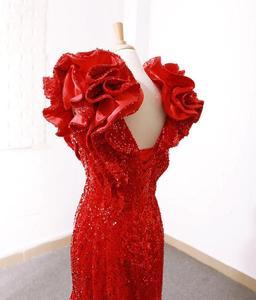 Image 2 - Rsm66736 מיוחד כובע שרוולים V צוואר בת ים תחרה עד ארוך רכבת אדום אלגנטי ערב שמלות
