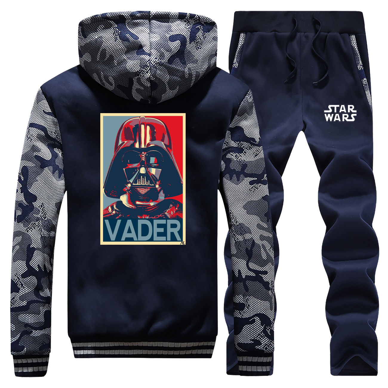 Winter 2019 Hot Sale Darth Vader Star Wars Hoodie Men Camouflage Coat Thick Suit Warm Jackets Suit Sportswear+Pants 2 Piece Set