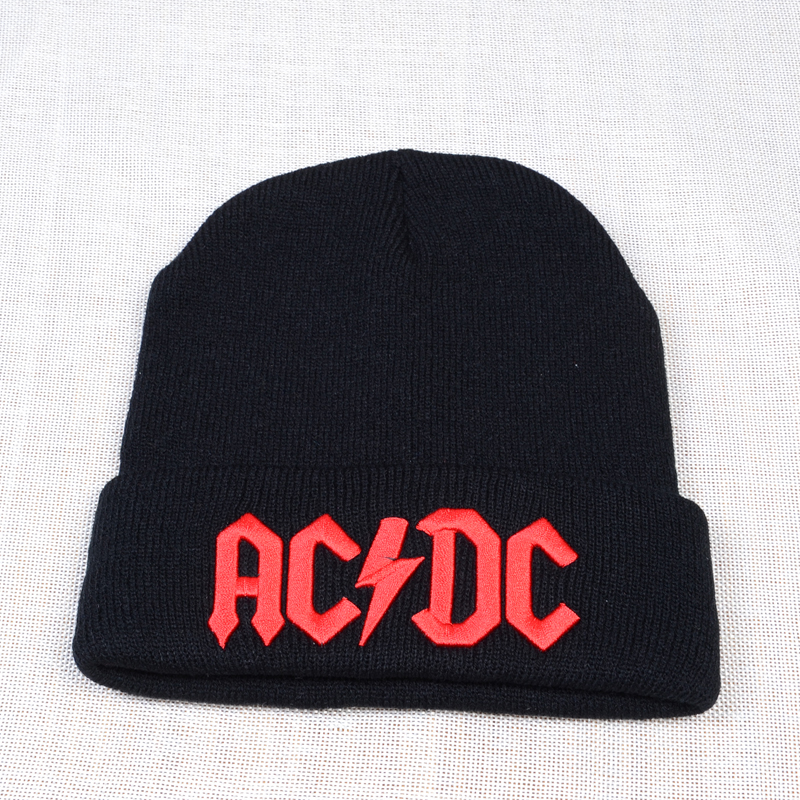 Warm Winter Rock ACDC Cap Embroidery Beanies Women Men Cool Black Warm Ski Hat Outdoor Hip Hop Unisex Knit Skullies Bonnet
