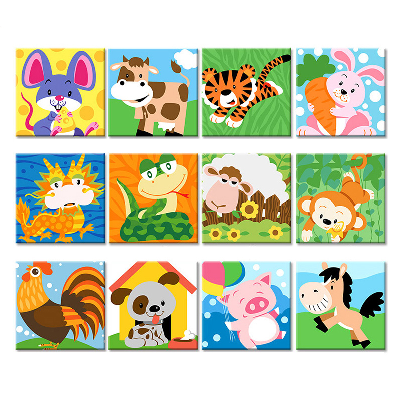 Frame Animal DIY Painting By Numbers Kit Kids Image Coloring By Numbers Hand Painted Draw On Canvas Unique Gift For Children Art