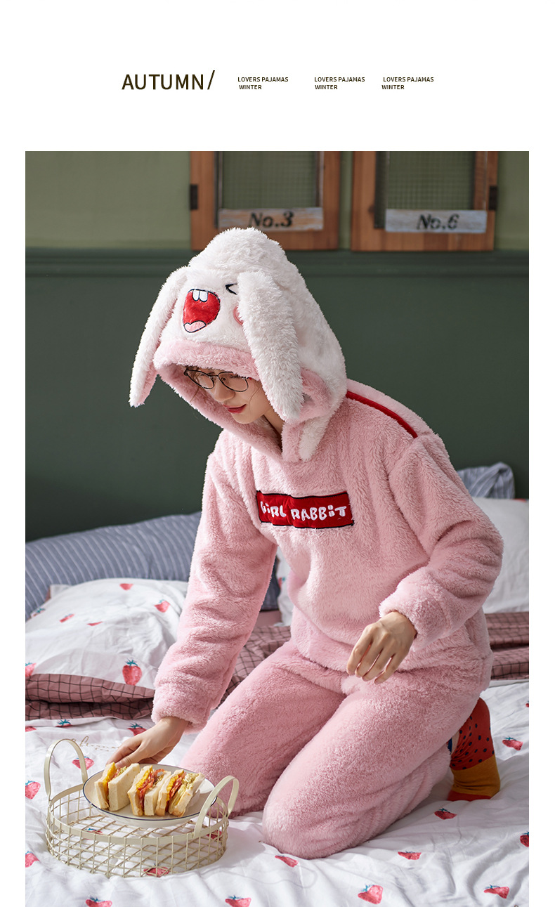 Plus Large Size M - 5XL Warm Pajamas Set Girl Women Cartoon Flannel Thickened Coral Velvet Long Sleeve Pink Rabbit Home Clothes 32