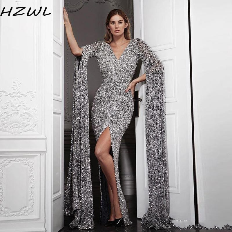 Sequined Mermaid Evening Dresses With Long Sleeve V Neck Pleats Side Split Arabic Dubai Prom Dress Long Plus Size Party Gowns