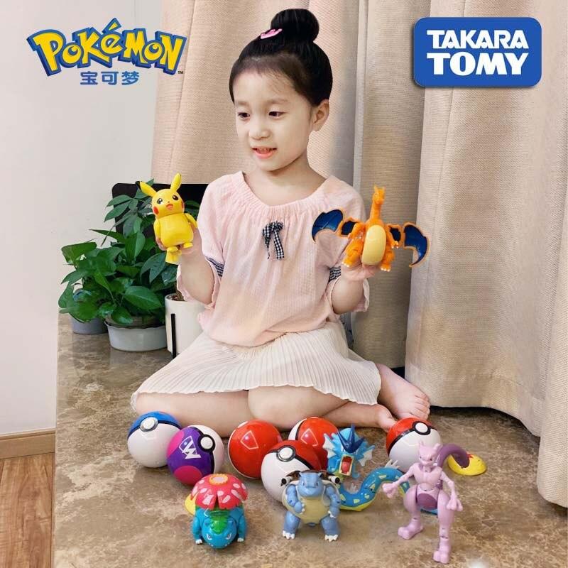 100% Original TAKARA TOMY Pokemon Pikachu Poke Deformation Ball Figure Action Mewtwo Charizard Bulbasaur Blastoise Gyarados