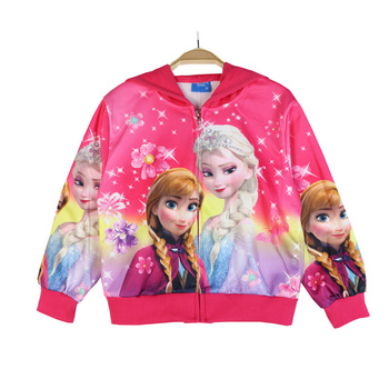 2019 New Spring Autumn Frozen anna elsa princess Girls Coat Baby Kids Flower Hooded Outwear Baby Kids Coats Jacket Clothing 2-8y