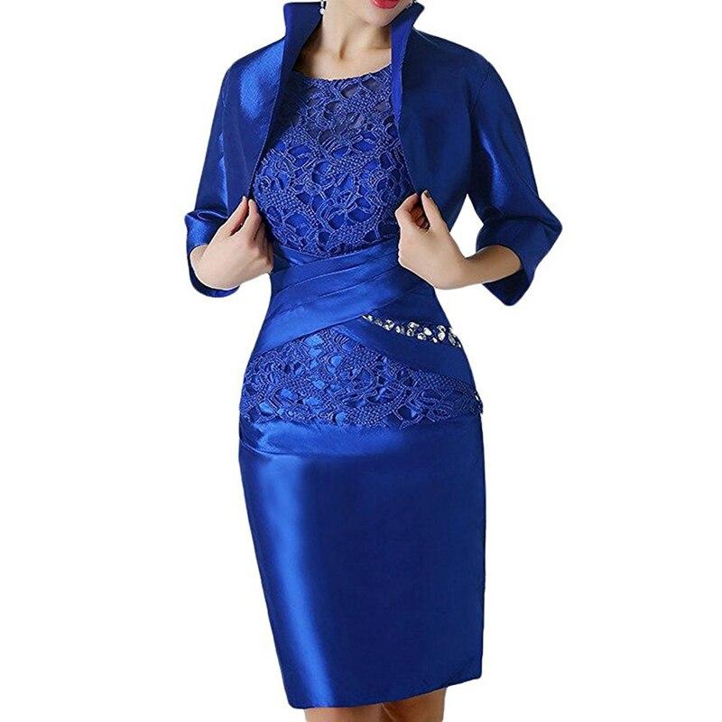 Royal Blue dentelle courte mère vêtements de cérémonie avec Wrap mère de marié robe de mariée invité soirée mère de la mariée robe costume