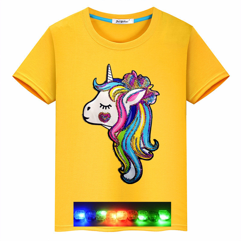 2020 New Summer Children's Clothing Boy Unicorn Colorful Bright T-shirt Cotton Short Sleeve Tide