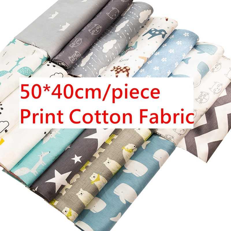 50x40cm, dibujos animados de sarga de algodón, estampado de flores de tela diy, tela para guardería, material de costura hecho a mano, TJ8691-2
