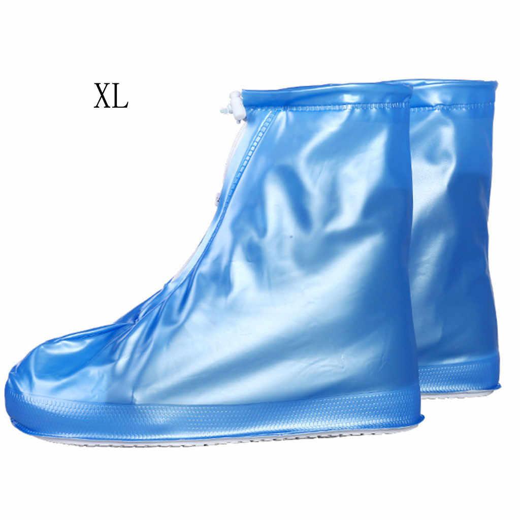 Nuevo Material de PVC azul Botas de lluvia no desechables cubiertas de zapatos de viaje portátil Masculino Femenino niños suministros de equipo de lluvia # YL10