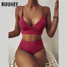 Ruuhee maiô feminino com nervuras cintura alta sólido preto branco push up bikini define 2021 banho feminino com acolchoado