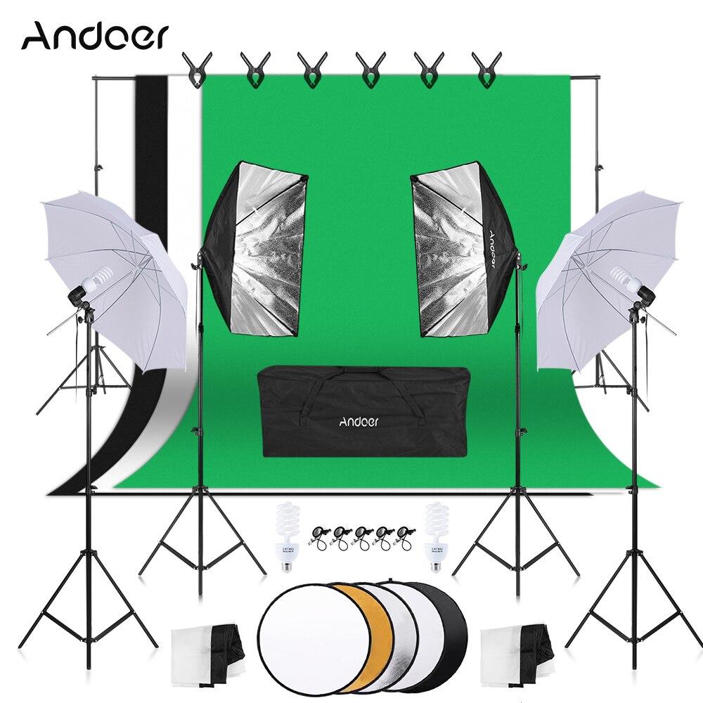 Kit de photographie Andoer Kit d'équipement lumière douce parapluie Softbox porte-ampoule ampoules prises arrière-plans Kits de Studio Photo