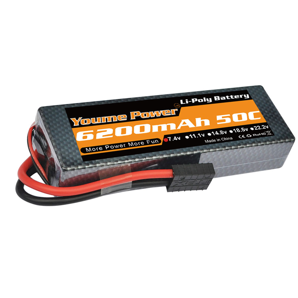 YOUME 7.4V 6200mAh Lipo Battery 2s lipo 50C With Deans Plug XT60 XT90 trx connector For Traxxas 1:8 1:10 RC Car Truck Helicopter