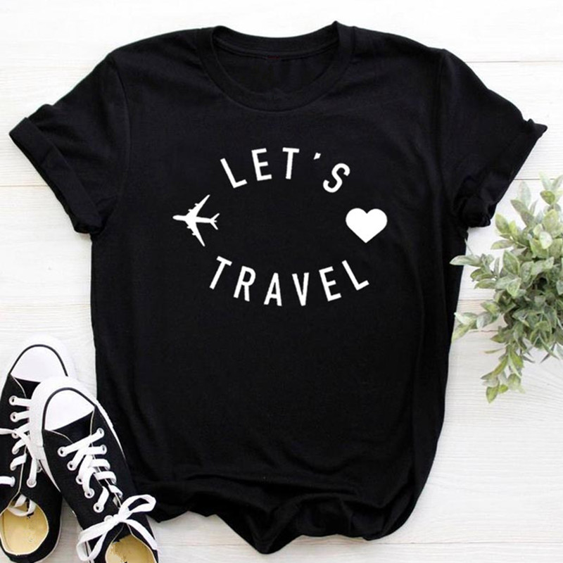 Let's Travel Graphic Women T-shirt Summer Cartoon Printed Woman T Shirt Black White Casual Tops Tee O-neck Female Clothes