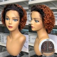 Pixie corte peruca para as mulheres laranja encaracolado pixie peruca de cabelo humano pré arrancado descorado nós curto bob t peruca do laço 180% remy
