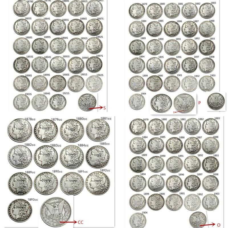 Полный комплект США (1878-1921) P/S/D/O/CC 96 шт. копировальные монеты с посеребренным покрытием Моргана доллара
