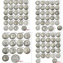 Conjunto completo eua (1878-1921) p/s/d/o/cc 96 unidades, dólar morgão banhado à prata moedas de cópia