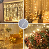Solar Powered 300 LED Window Curtain Fairy Lights Copper Wire String Lights for Outdoor Wedding Party Garden Bedroom Decoration promo