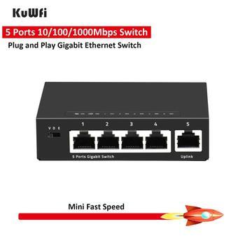 KuWFi 5 Port Gigabit Switch Mini 10/10/1000Mbps Desktop Fast Ethernet Switch RJ45 LAN Hub/ Full or Half duplex Exchange mini 8 port network gigabit desktop switch 10 100 1000mbps fast ethernet switcher lan hub full half duplex exchange vsh