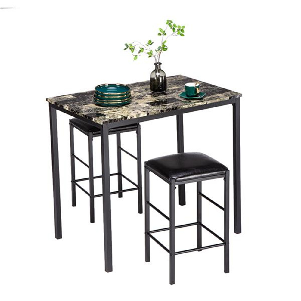 [90 X 60 X 82] Cm Marble Face High Dining Table And Chair Cushion Black Set 1 Table 2 Chairs Dining Table Kitchen Furniture