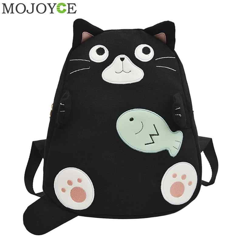 Fashion Cat Print School Bags for Teenage Girls Travel Backpack Women Canvas Shoulder Top-handle Bags mochila feminina
