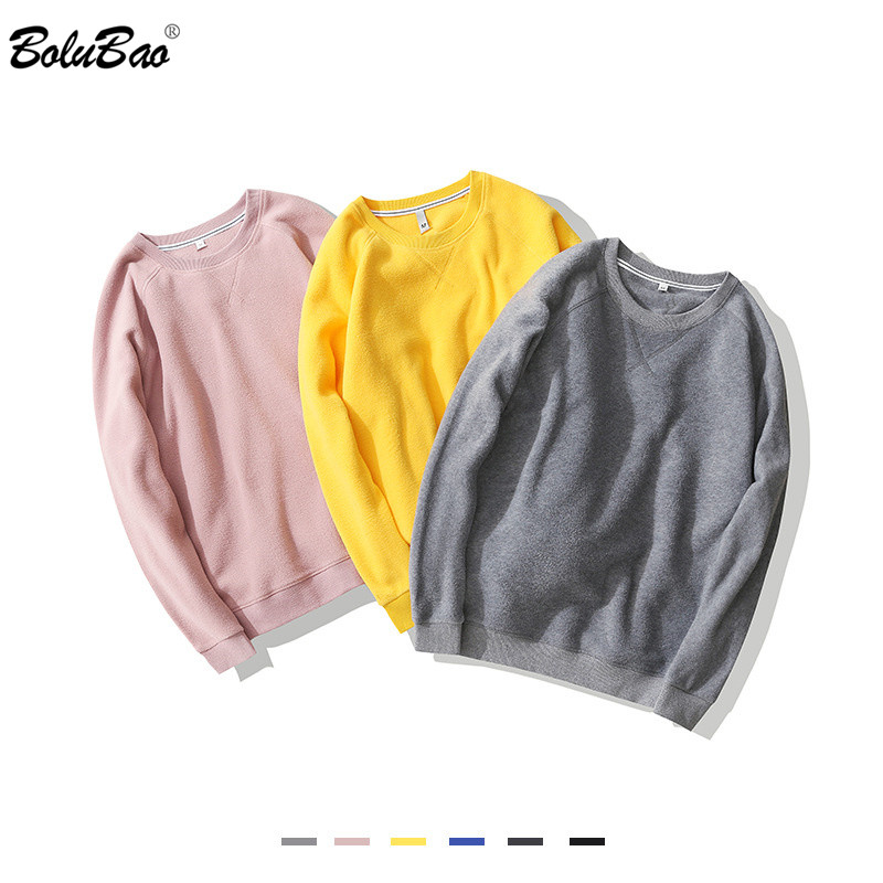 BOLUBAO Trendy Brand Men Solid Sweatshirts Autumn New Men's Fleece Casual Wild Sweatshirts O-Neck Hoodies Sweatshirt Male