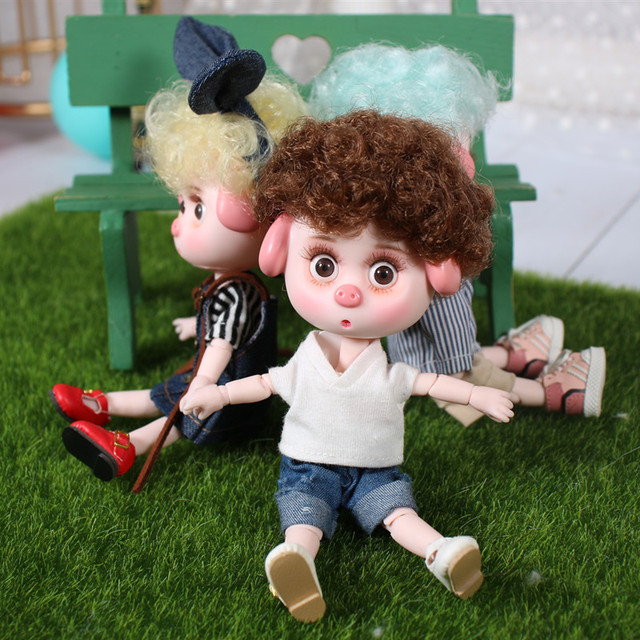 1/12 BJD 26 Siamese 15CM Mini Doll New Lucky Pig ob11 Doll with Equipment Shoes Makeup Set Gift Toy