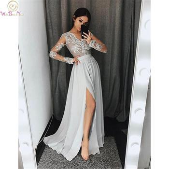цена на 2020 Sexy Silver Grey Prom Dresses V Neck Appliques Lace Chiffon Long Sleeves With High Split Formal Party Gowns Modest Evening