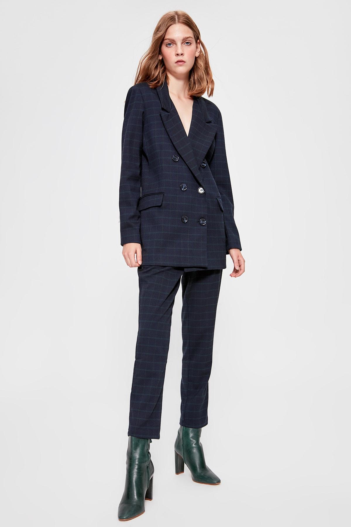 Trendyol Navy Blue Striped Pants TWOAW20PL0213