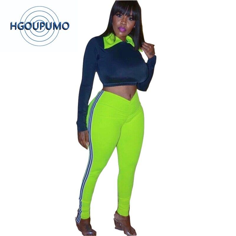 Néon vert Sexy 2 piècesesets femmes col claudine pleine manches Bandage Top + rayé épissé crayon pantalon survêtement