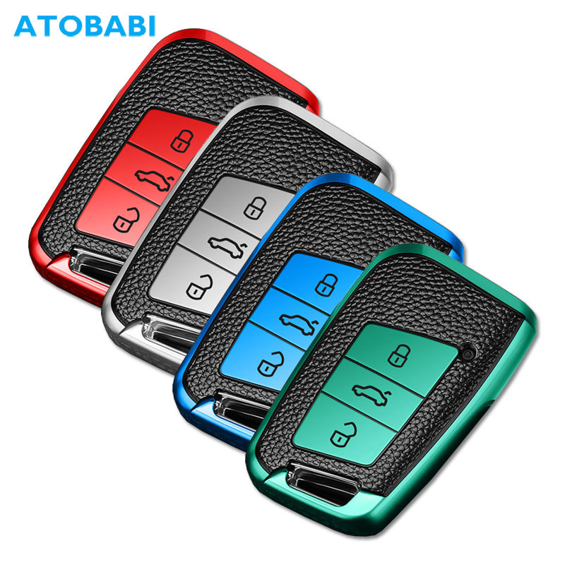 TPU Leather Car Key Cover For VW Volkswagen Magotan Passat B8 Skoda Superb Kodiaq A7 Smart Keychain Remote Fob Protector Case