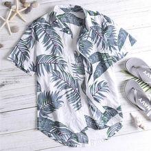 Повседневные мужские пляжные Гавайские рубашки из хлопка с цветочным принтом, гавайская свободная пляжная одежда с коротким рукавом, Повседневная рубашка на пуговицах