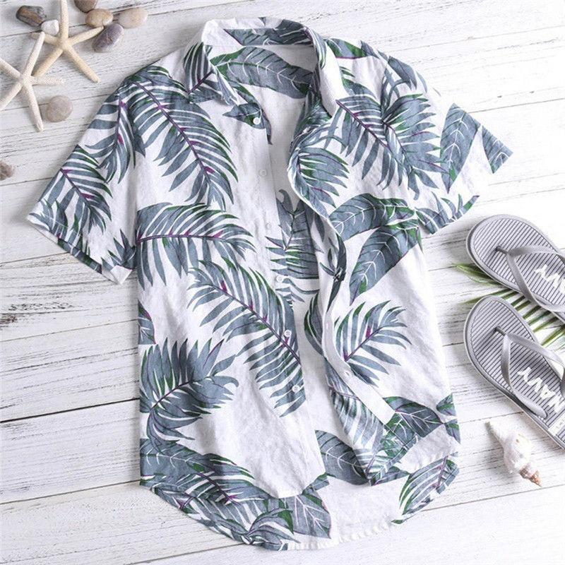 Casual Mens Beach Hawaiian Shirts Cotton Floral Mens Printed Hawaiian Loose Beachwear Short Sleeve Casual Buttons Shirt
