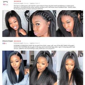 Image 4 - Kinky Thẳng Tóc Giả Celie Ren Mặt Trước Con Người Tóc Giả Cho Nữ Màu Đen Trước Nhổ 360 Ren Phía Trước Tóc Giả Glueless Con Người tóc Giả