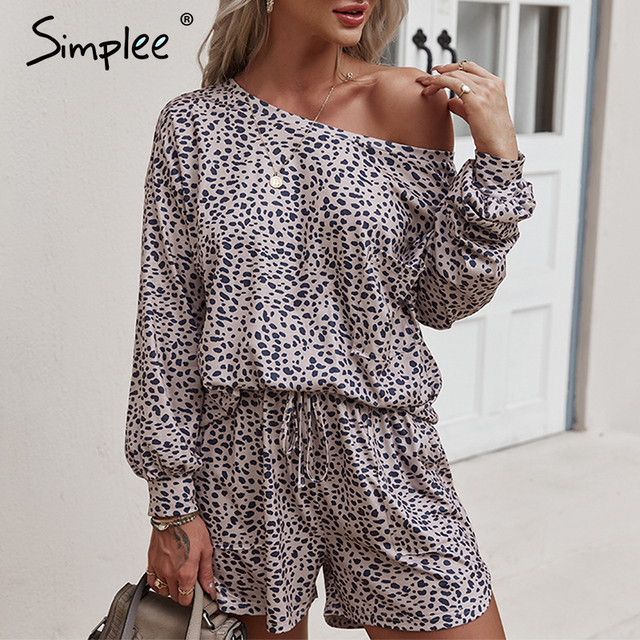 Simplee Casual polk dot print two pieces women set spring Long sleeves top and shorts leisure wear female Fashion basic suit new 1