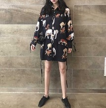 NiceMix Blusas Mujer De Moda 2019 Autumn New Lapel Animal Print Drawstring Long Sleeve Shirt Women Blouse Blusa